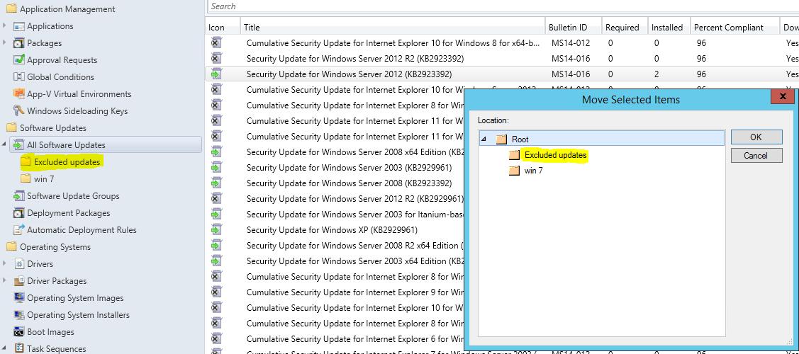 SCCM – Exclude updates   idefixwiki